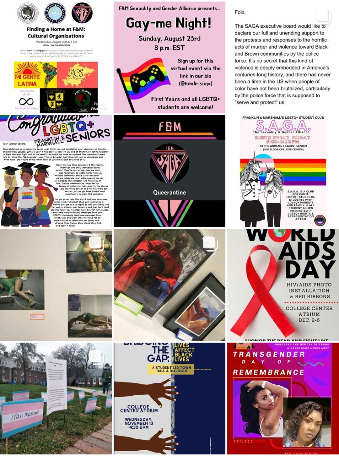 A screenshot of various posts made on SAGA's instagram for different events, including Gayme Night, Art Show, and Transgender Day of Remembrance