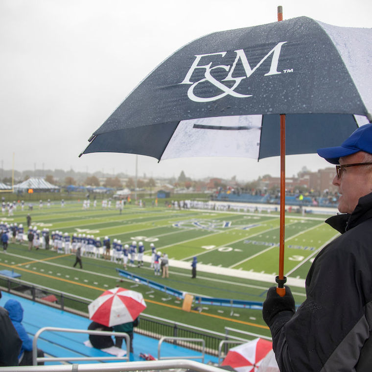 F&M's athletes treated Diplomat fans to a memorable weekend—even as the weather went from bad to worse. The field hockey and volleyball teams clinched the top seeds in their respective conference playoff tournaments with victories over Johns Hopkins, while the football team trounced Moravian in Shadek Stadium. Meanwhile, the women's and men's swimming teams opened their campaigns with victories over Washington on Friday night.