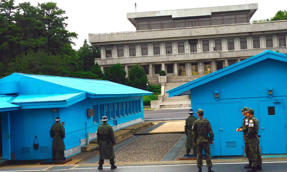 Kahn's travels in Korea brought her to the Joint Security Area, a portion of the Demilitarized Zone, on the border between North and South Korea. The students also met with a North Korean defector.
