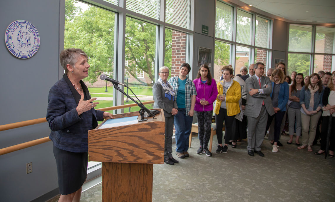 The College community turns out to welcome F&M's new president, Barbara K. Altmann, Ph.D., during a reception in the lobby of Roschel Performing Arts Center.
