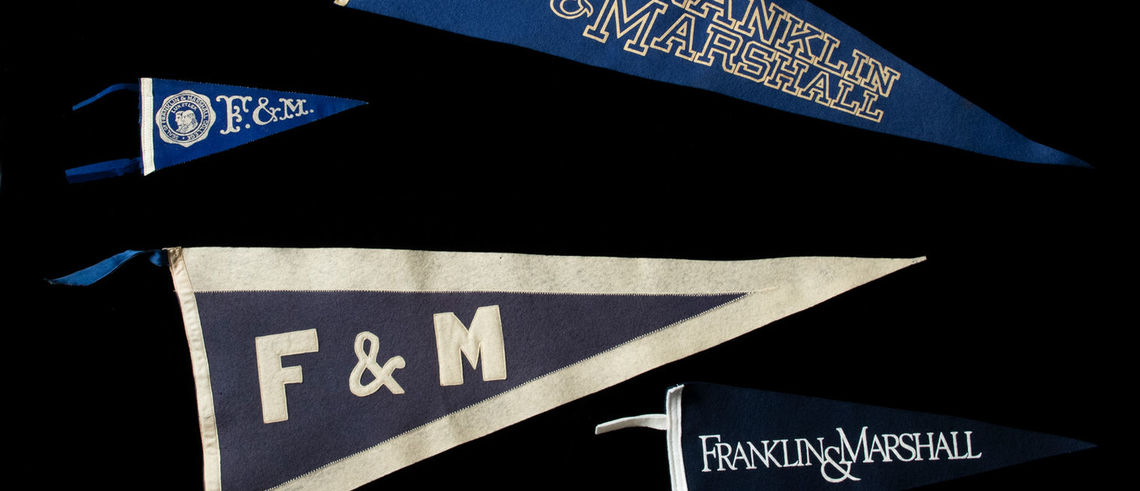 Franklin & Marshall pennants have evolved in size, color and style through the years, but for those who hang them on walls near and far, the pride they display has remained a constant. These are just a few examples of pennants donated to the College by alumni since the mid-20th century.