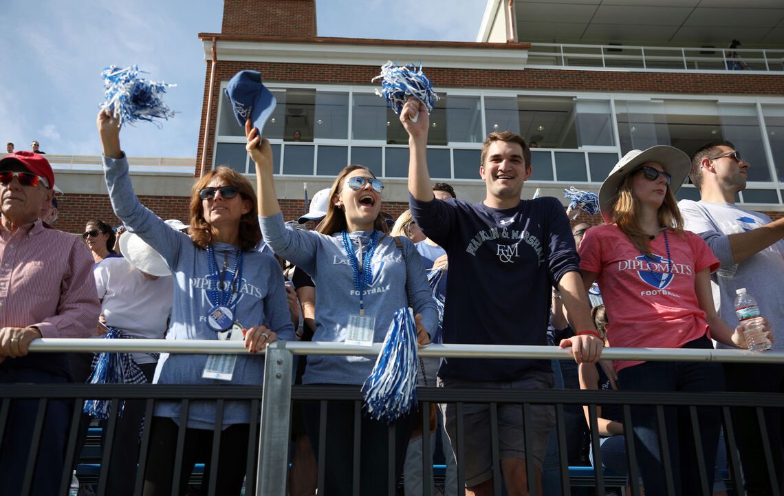 The excitement was contagious at the opening of Shadek Stadium, as thousands of members of the F&M community joined President Porterfield to celebrate the new facility — and a big Homecoming win.