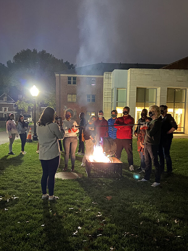 Tatum Evans '24 says events in Brooks, such as the Phoenix Ceremony (above) and Sunday Night Sundaes, are a great way to bring residents together to relax and unwind.