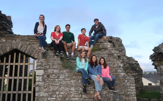 Shaw enjoys a day at Aberystwyth Castle ruins with fellow Fulbright students.