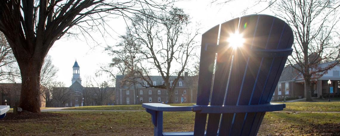 Early morning sun peeks across Hartman Green on an early winter day.