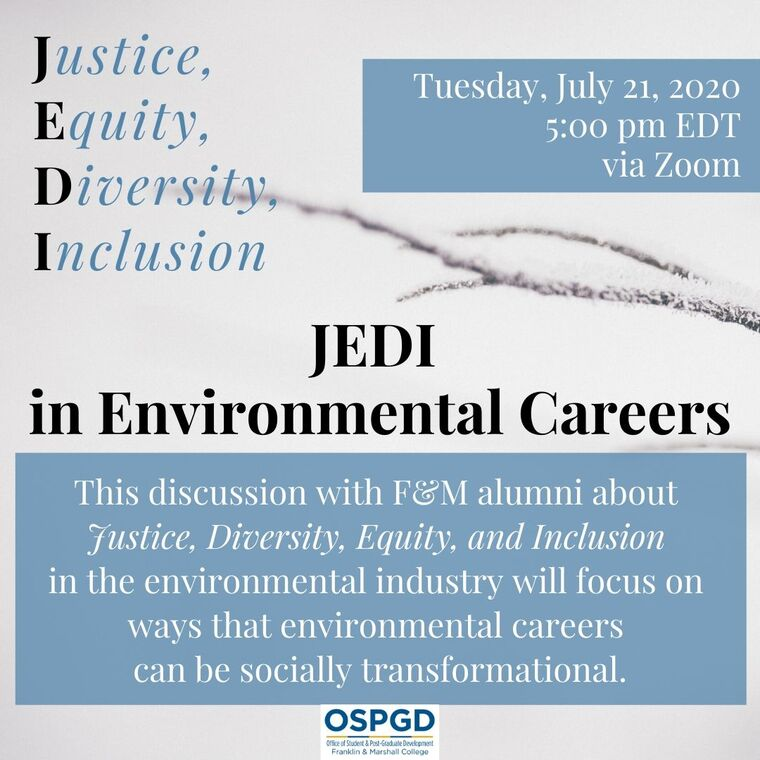 Justice, Equity, Diversity, Inclusion in environmental careers poster