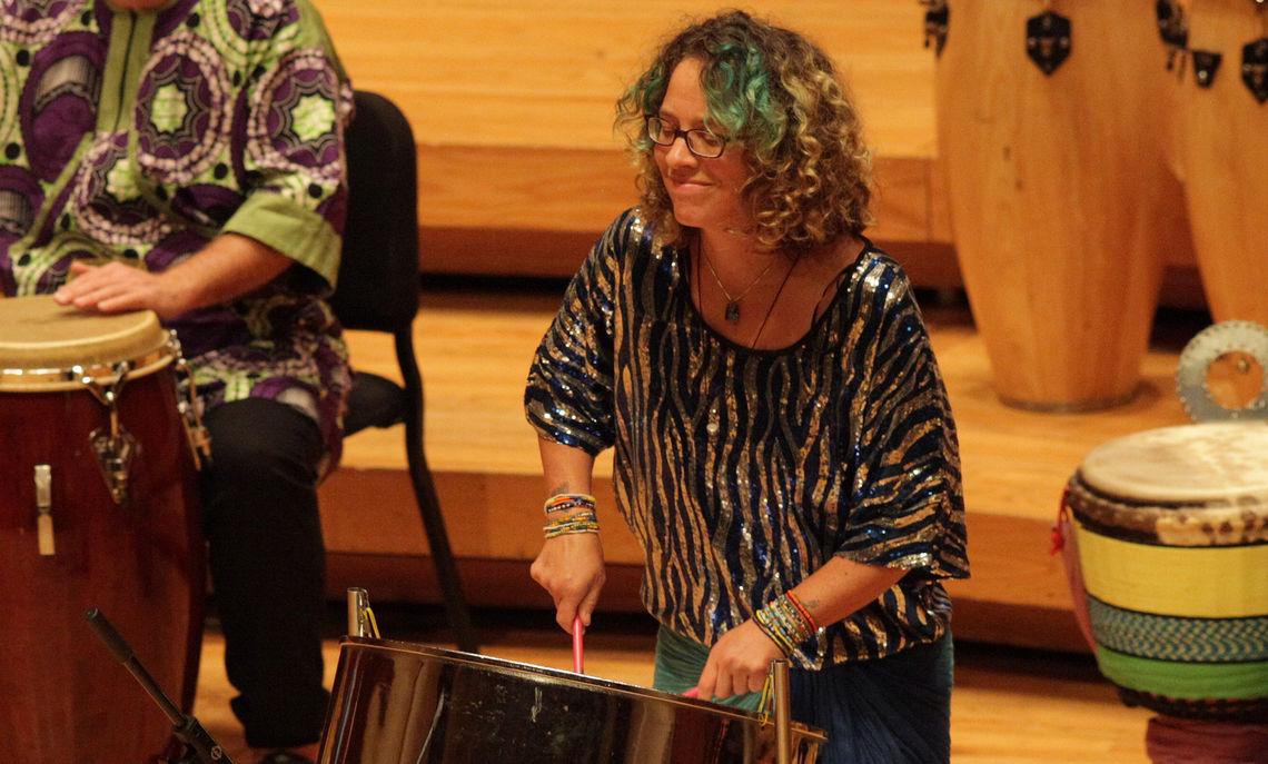 African Drumming instructor Tammi Hessen performs at Faculty Recital, September 2017