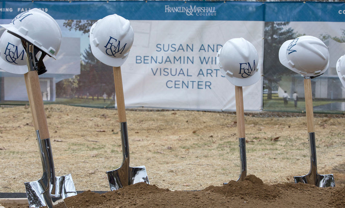 Shovels for breaking ground for the Susan & Benjamin Winter Visual Arts Center.