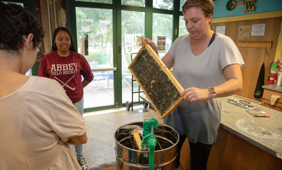 Sarah Dawson, the Center director, takes frames of uncapped honeycombs and places them into a manually cranked centrifuge.
