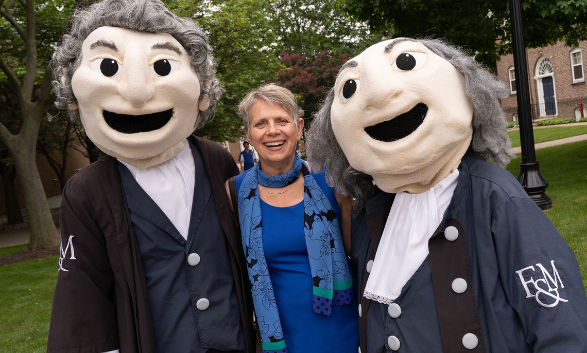 Barbara K. Altmann, F&M's 16th president, stops for a photo with F&M mascots Ben and John.