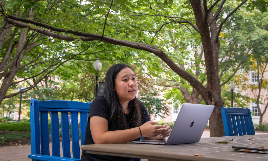 Lauren Chen '23 discusses her research exploring COVID-19 and its impact on adult English language learners' interest in taking an online English class in the future.