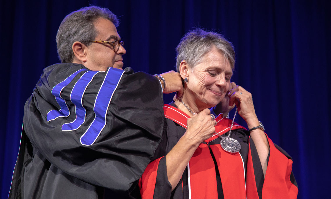 Eric W. Noll '83, P'09, who served as interim president of F&M for several months this year, presides over the inauguration of President Barbara K. Altmann, Ph.D.