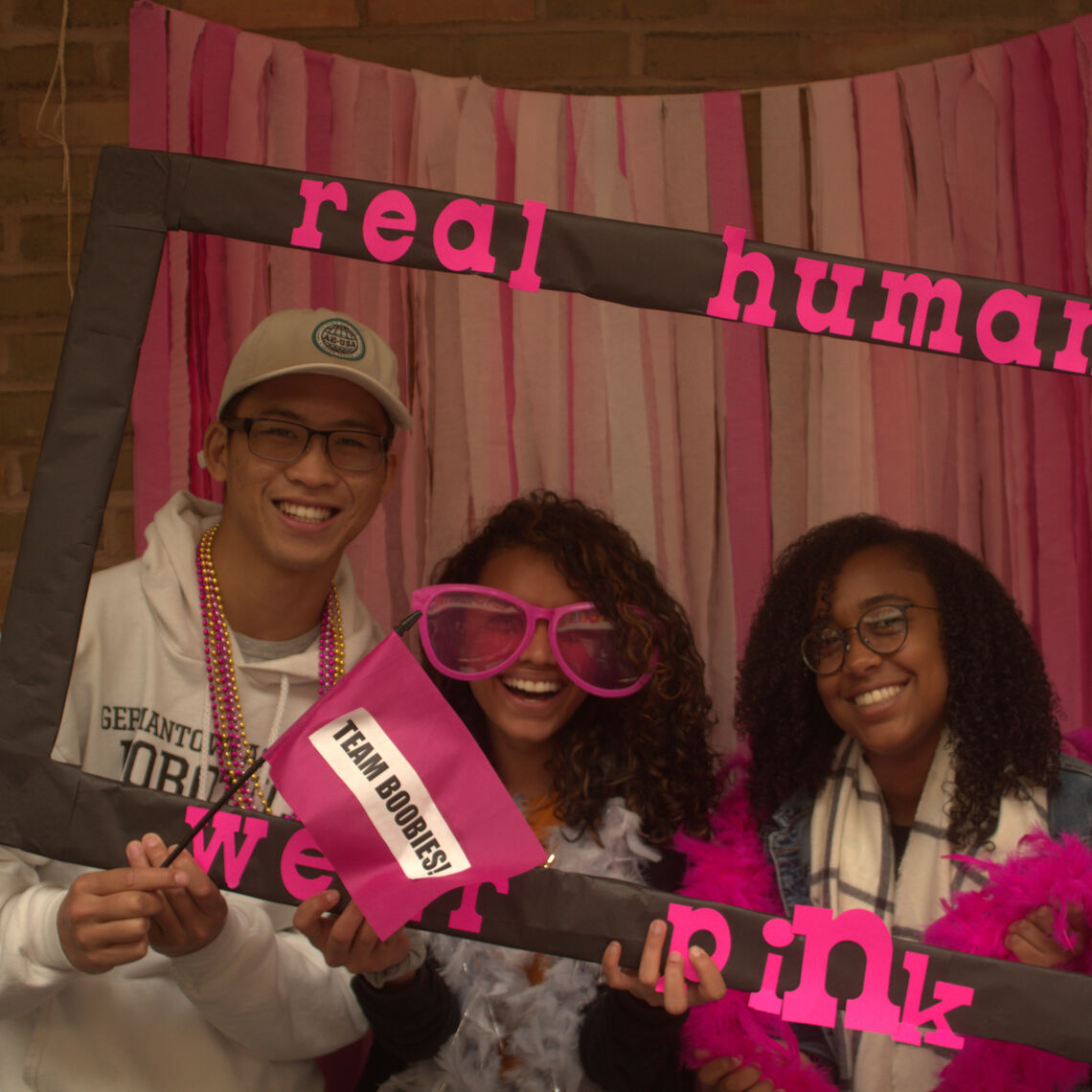 real humans wear pink photobooth