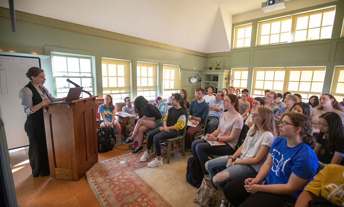 9/17/19: Rare book dealer Rebecca Romney speaks to a crowd at the Writers House.