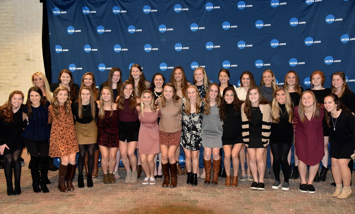 The 2017 Field Hockey team at the NCAA Final Four banquet at Churchill Downs race track in Louisville.