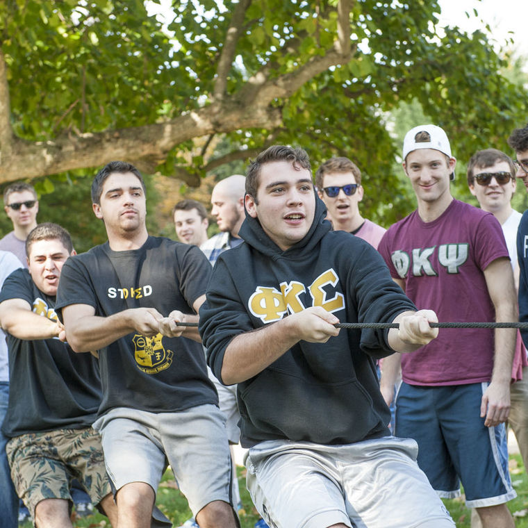 In September, members of F&M's fraternities and sororities participated in the third annual Tug of Roar, an event organized by Alpha Delta Pi to support the Ronald McDonald House Charities.