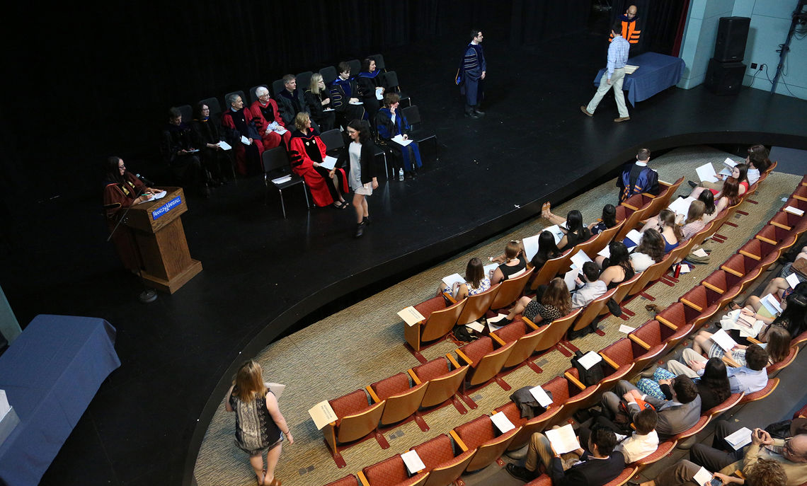 Sixty members of the Class of 2017, along with four members of the Class of 2018, are inducted into Phi Beta Kappa May 12 in Roschel Performing Arts Center's Schnader Theatre. Phi Beta Kappa is one of the nation's most prestigious honor societies, celebrating excellence in the liberal arts and sciences.