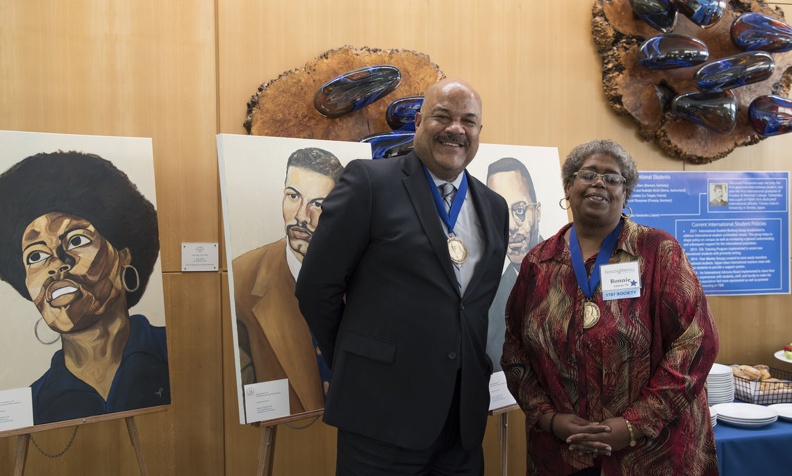 """Among the African American alumni awarded this year's Sydney N. Bridgett '51 Award for accomplishment and achievement are Sylvester Cox '80, Maryland Circuit Court Associate Judge, and Donna """"Bonnie"""" Glover '76, director of Domestic Violence Services in Lancaster."""