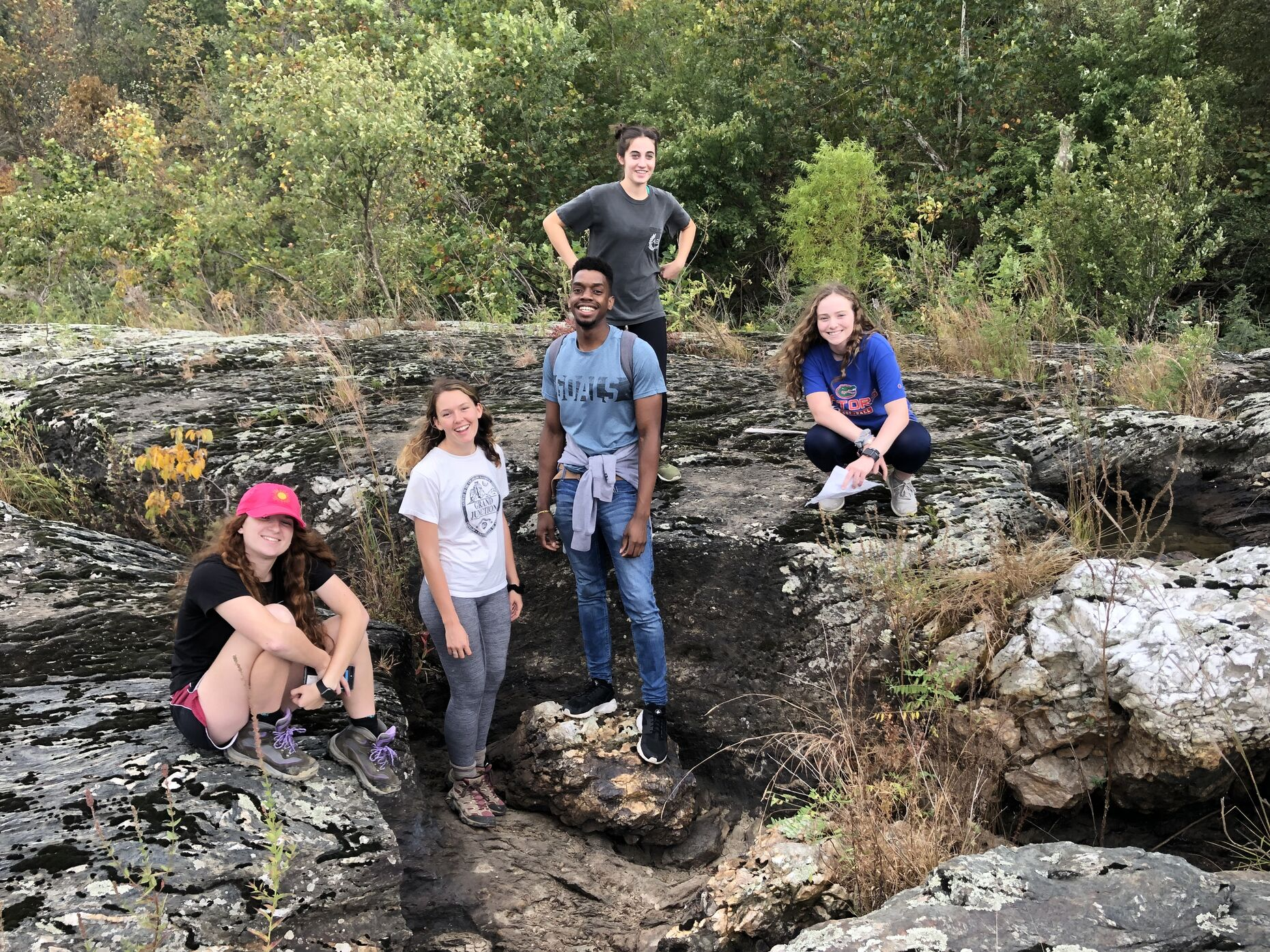 Jevelson Jean '21 (center) with classmates at Holtwood Gorge in Lancaster, PA during class fieldwork in October 2019.