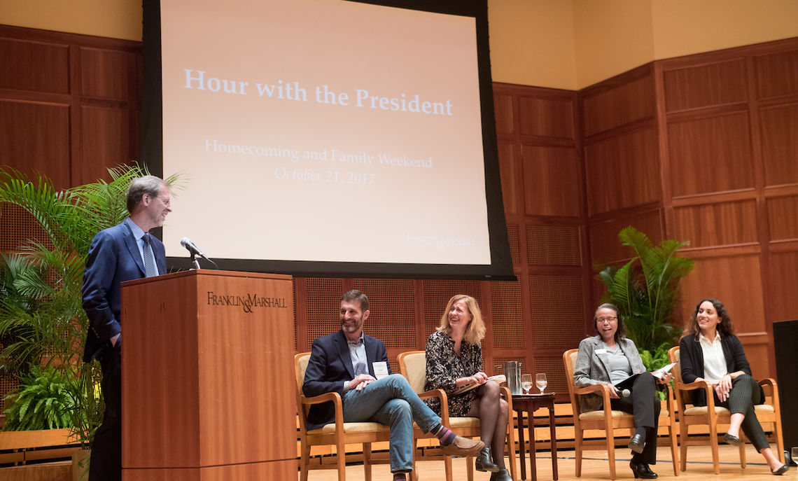 """During """"An Hour with the President,"""" President Daniel R. Porterfield asked selected members of alumni, faculty, staff and students to discuss their F&M experiences."""