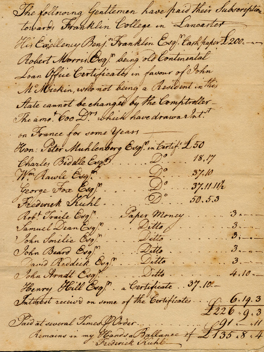 "Treasurer Mr. Frederick Kuhl's Account of Franklin College in the borough of Lancaster, List of Paid Subscribers. ""The following gentlemen have paid their subscription toward Franklin College in Lancaster. His Excellency Benj. Franklin Esq. [uire] Cash paper £200."""