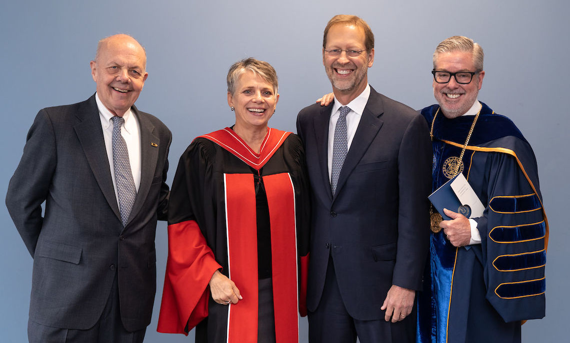 Richard Kneedler '65, P'98 (left), F&M's 13th president, was a student when the College was an all-male institution and served on the faculty before and after coeducation. Here he joins other recent F&M presidents at the inauguration of the 16th president, Barbara K. Altmann, in 2018. John Fry (F&M's 14th president) is at far right while Daniel Porterfield (15th president) is second from right.