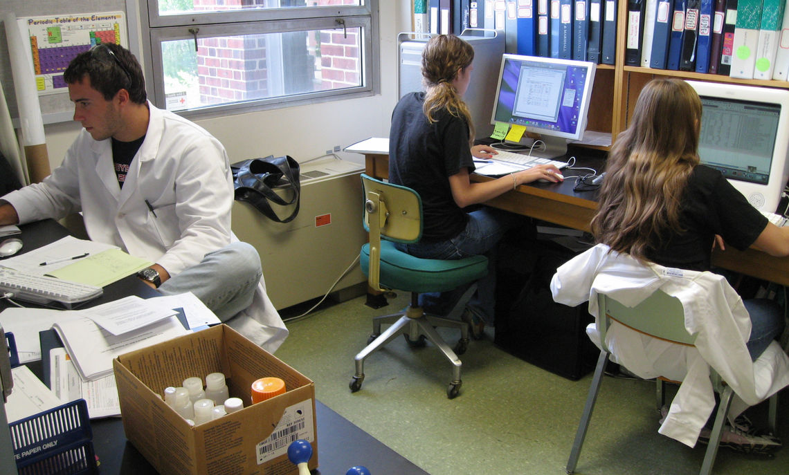 Chemistry researchers working on their reports