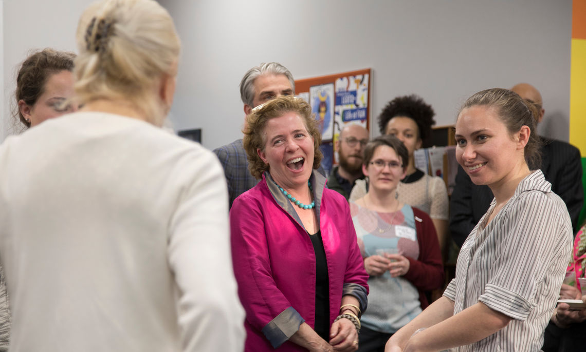 This year marked the 25th Anniversary of the Alice Drum Women's Center. Supporters celebrate the milestone in the center's new location: the second floor of Steinman College Center.