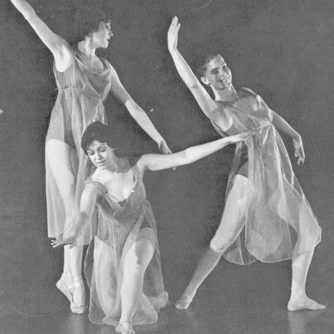 Students Christine Souders, Sue Rappaport and Beth Haller dance to Johann Strauss' Blue Danube Waltz as the opening act for the spring dance concert, April 7 and 8, 1978.