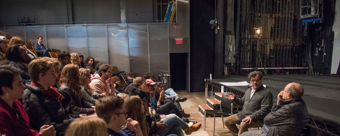 "F&M students traveled to New York with the Writers House to see playwright Kenneth Lonergan's ""Hotel Lobby."" They also met with the playwright and James Lapine '71 for a talkback."