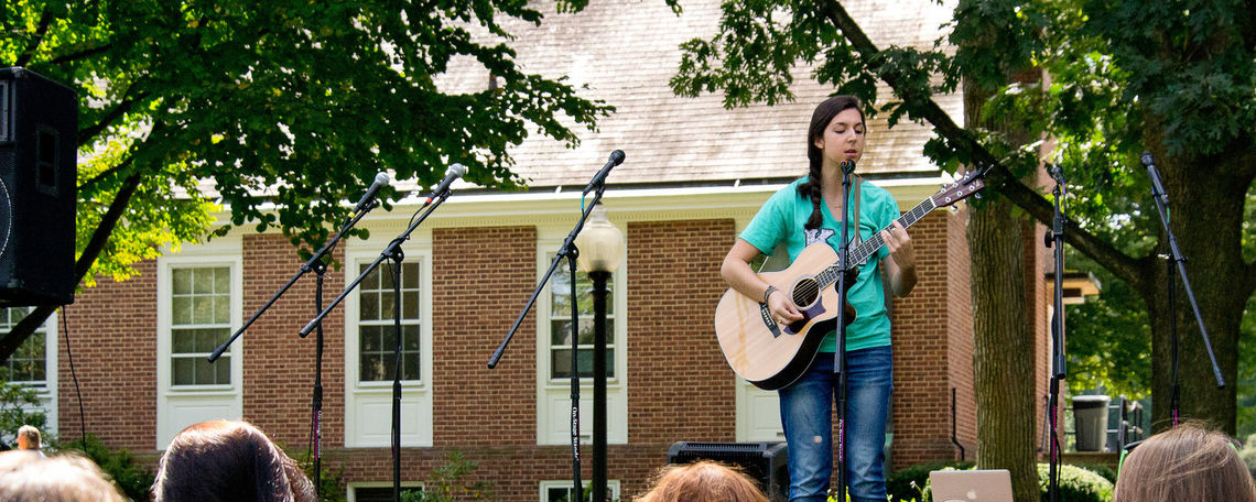 "Kappa Delta's own Maria Lytle performed ""Pack It Up"" by Eliza Doolittle during their 5th Birthday Celebration.  Students celebrated in the sun on Hartman Green, Friday afternoon with Maggie Moo's ice cream, volleyball, a moon bounce, and many more games."