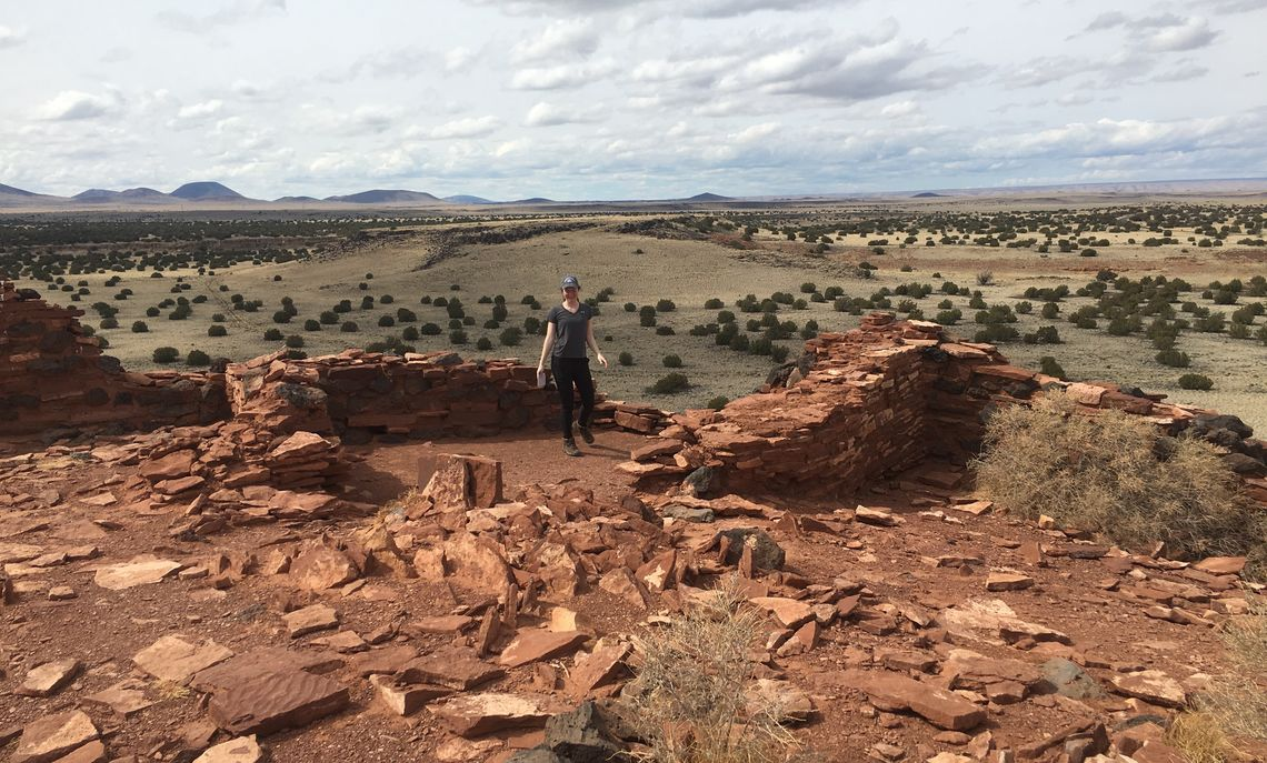The Citadel at Wupatki National Monument in Arizona, one of the many settlement sites built by the ancient Pueblo People sometime after 500 A.D. The population of the area was heavily influenced by the eruption of Sunset Crater in the 11th century.