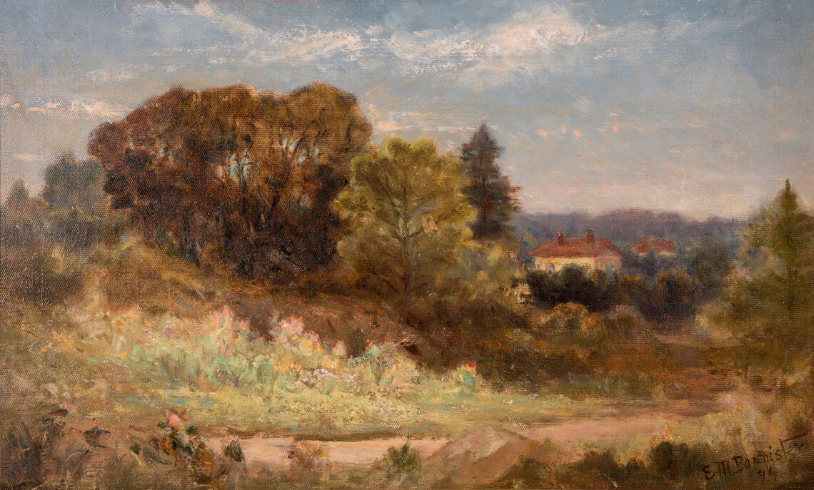 Oil painting by Edward Mitchell Bannister that depicts a Rhode Island Landscape with a home to the side.