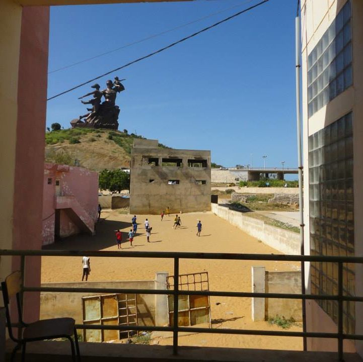 a view of the African Renaissance statue from a community center in Yoff, Dakar, where many of the Lebou people live shrima pandey  india sit ihp cities fall 2014 OCS OIP