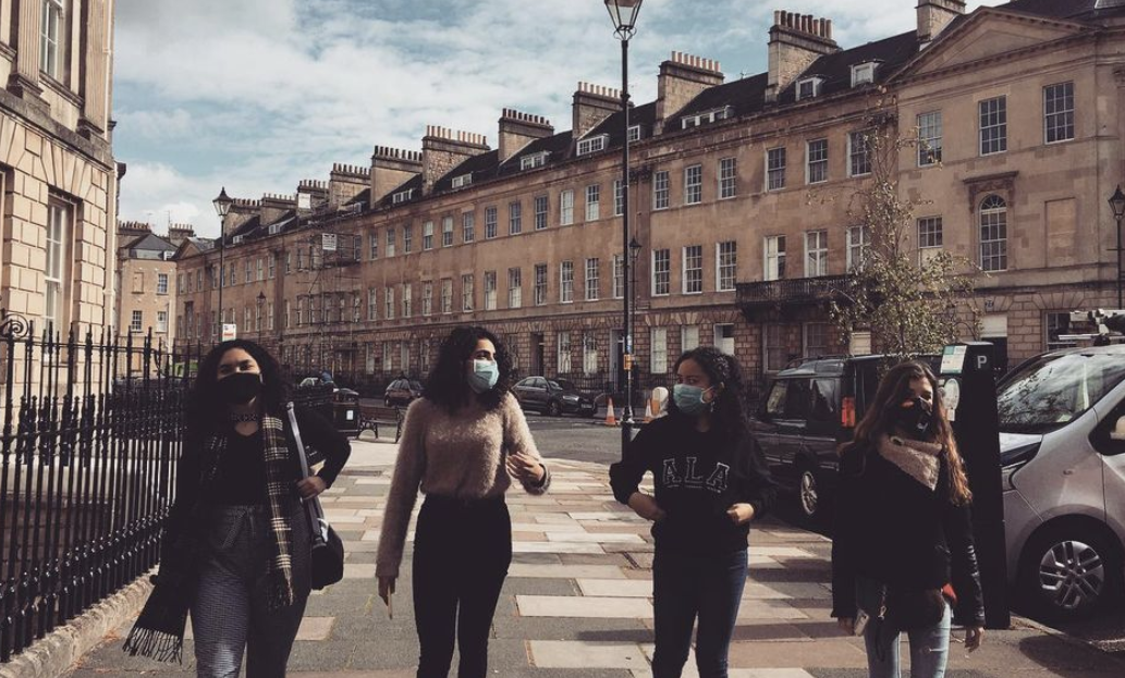 First-year international students in F&M's Bath cohort exploring the streets of Bath