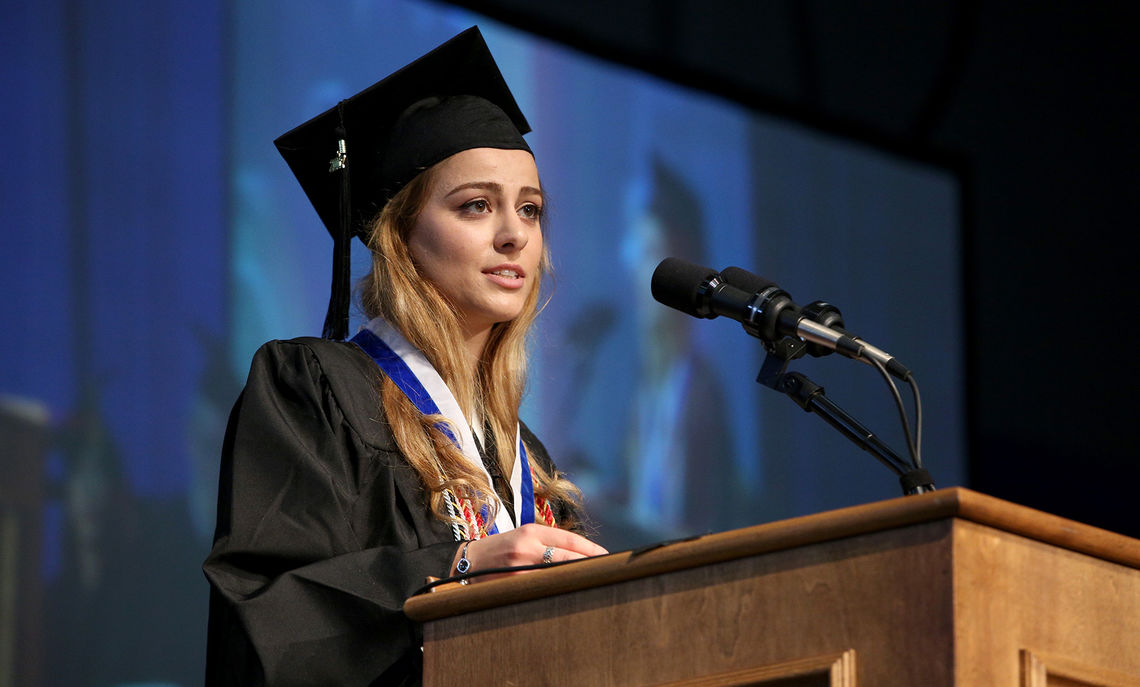 Williamson Medal winner and senior Tekla Iashagashvili addresses her fellow graduates during Commencement May 13. The medal is F&M's highest student award, presented annually to the outstanding senior of the graduating class. The award is named in honor of Henry S. Williamson (1853-1917), a Lancaster businessman, philanthropist and member of the College's Board of Trustees.