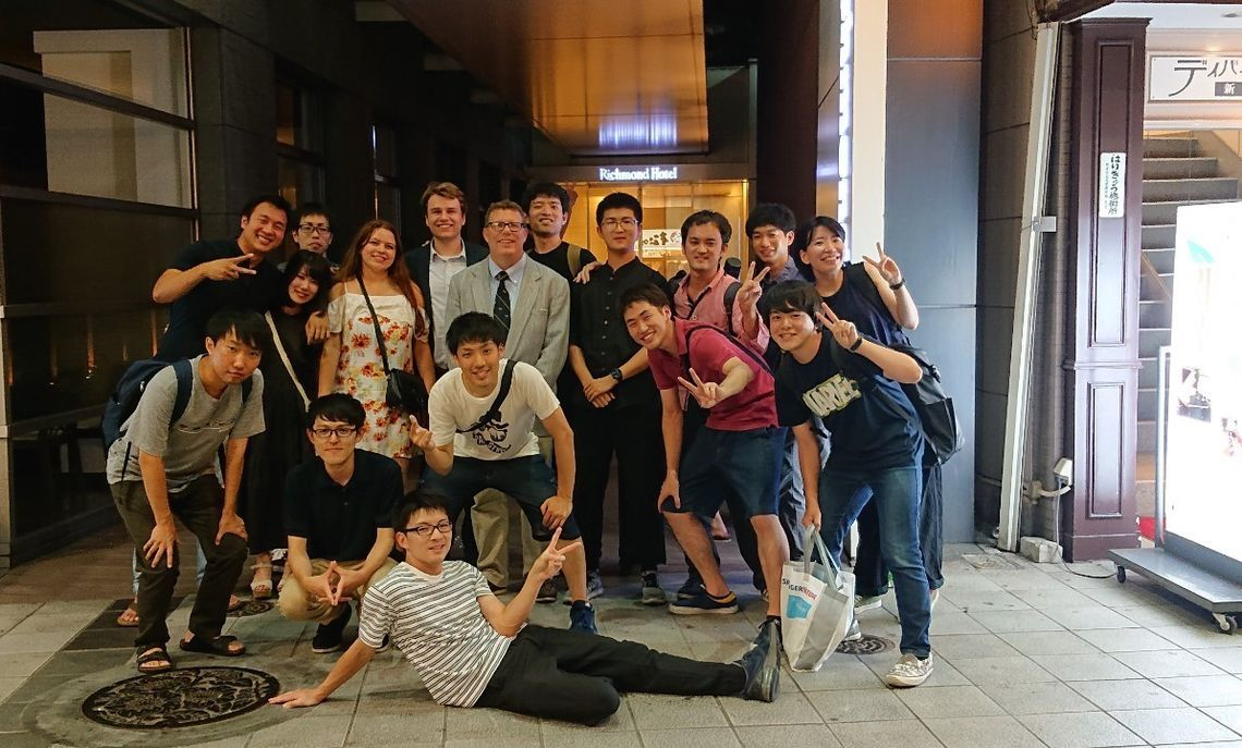 Franklin & Marshall students and Kumamoto graduate students at their last dinner together.