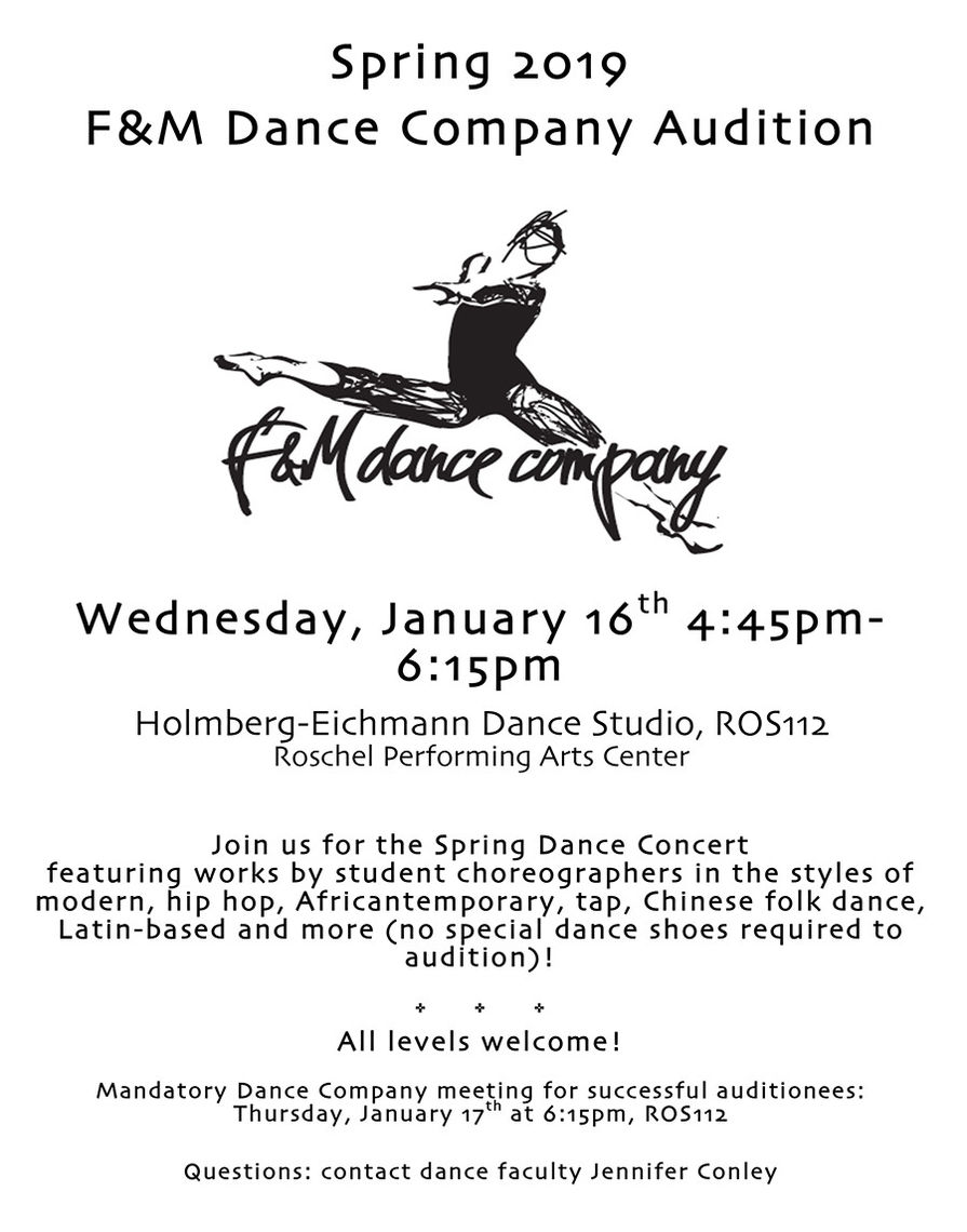 Franklin & Marshall – F&M Dance Company Auditions