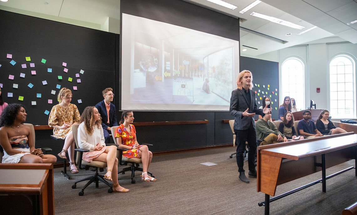 Sixteen students worked together as participants in the Creativity, Innovation and the Future of Work summer research program, designed to solve complex social issues through the design thinking process.