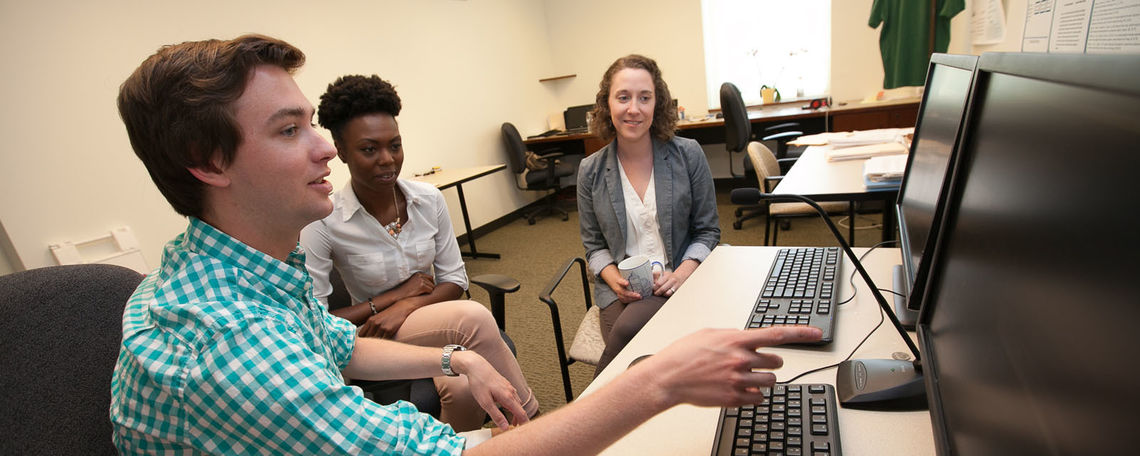 Students learning in a research setting with faculty remains the core of an F&M education. Below, Assistant Professor of Psychology Allison Troy (right) works with Markera Jones '15 and Steele Schauer '15.