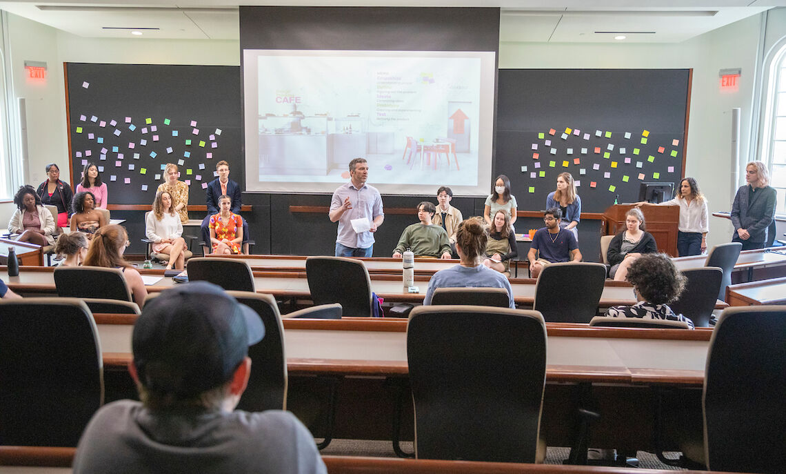 """""""We have put a particular emphasis on bringing students with different disciplines together and giving them a common language, different from what they might have encountered in their majors, in the form of design thinking,"""" said Etienne Gagnon, associate professor of physics and co-director of the CIFOW initiative."""