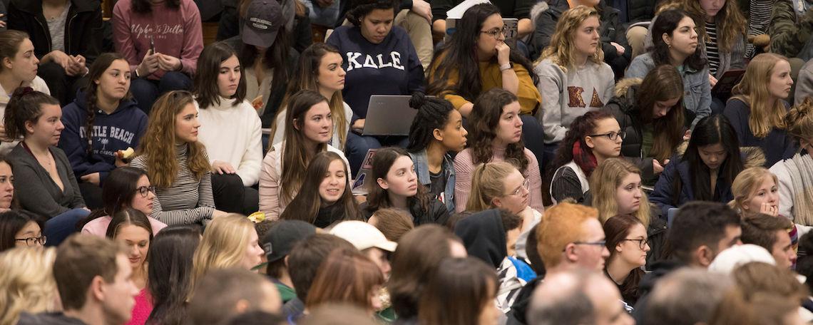 Students listening to Jackson Katz