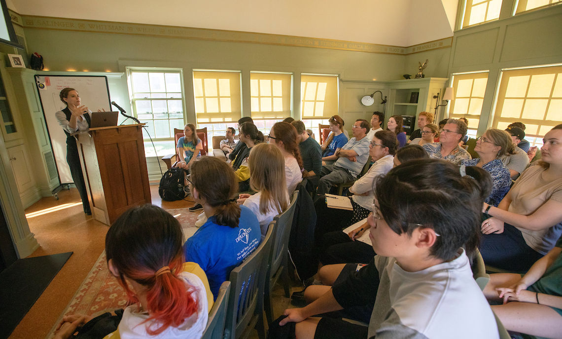"9/17/19, Rebecca Romney delivering her talk,""The Book That Ruined Her: Mary Wollstonecraft, Authority, and Authorship,"" at the Writers House"