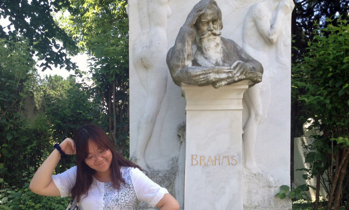 Her favorite composer, Johannes Brahms, drew junior Bess Liu to his gravesite in Austria, part of the cultural immersion in musicology that compelled her to embark on the study abroad program in Vienna.