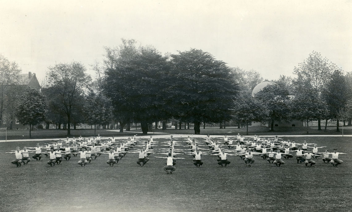During World War I, it was common to see Franklin & Marshall students exercising on Hartman Oval in front of the famed bronze beech trees. They did so as part of the Student Army Training Corps, created by the U.S. Department of War to enable young men eligible for the draft to continue their education at institutions around the country. Students participated in drills each morning and afternoon while following a curriculum created by the War Department's Committee on Education and Special Training. The program combined military tactics with more traditional academics.