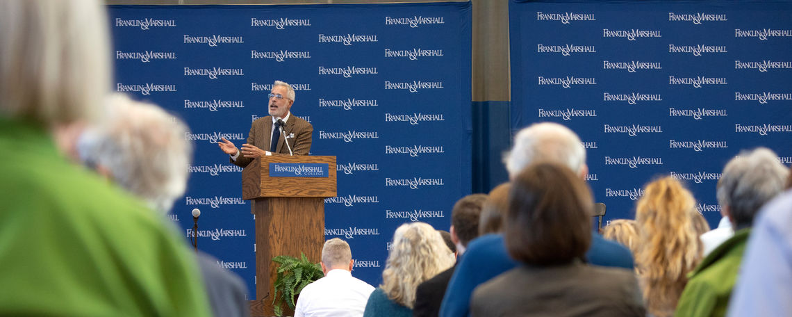 Jerry Taylor, president of the Niskanen Center, speaks to the Nov. 8 Common Hour audience about why he is no longer a climate change skeptic.