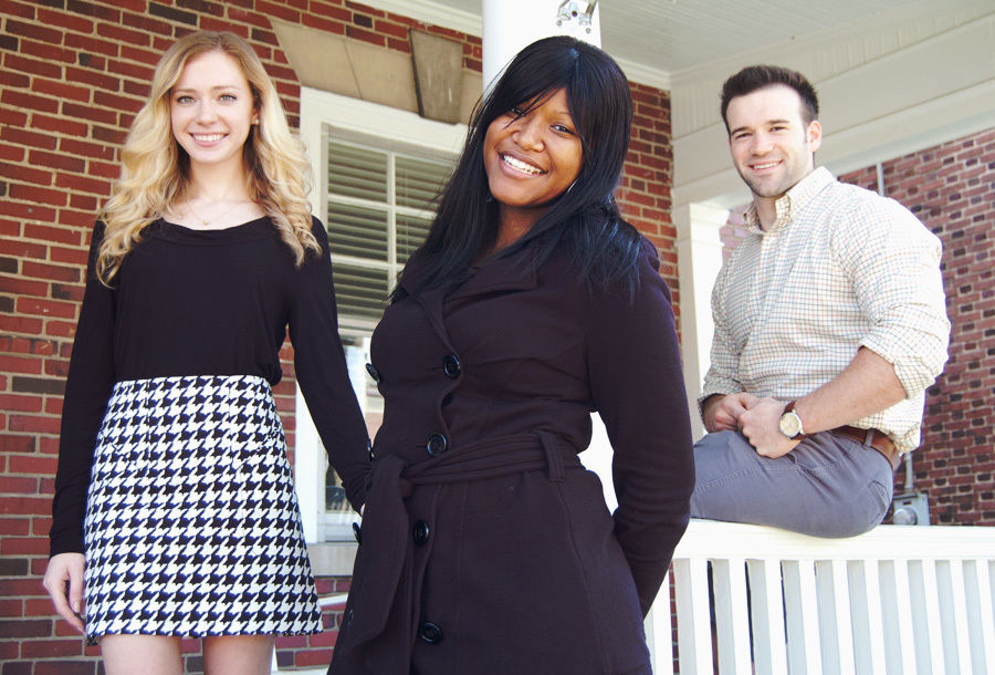 From left, Kaitlin Kines '13, Natasia Fable '13 and Clay Clements '13 have all taken advantage of the Office of Student and Post-Graduate Development's multilayered approach to launching students on trajectories to post-F&M success.