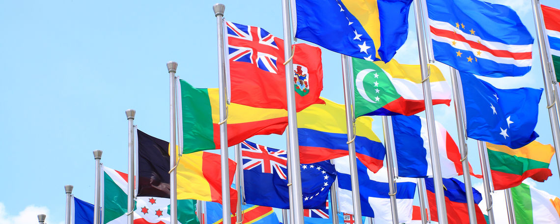 Flags from many different countries
