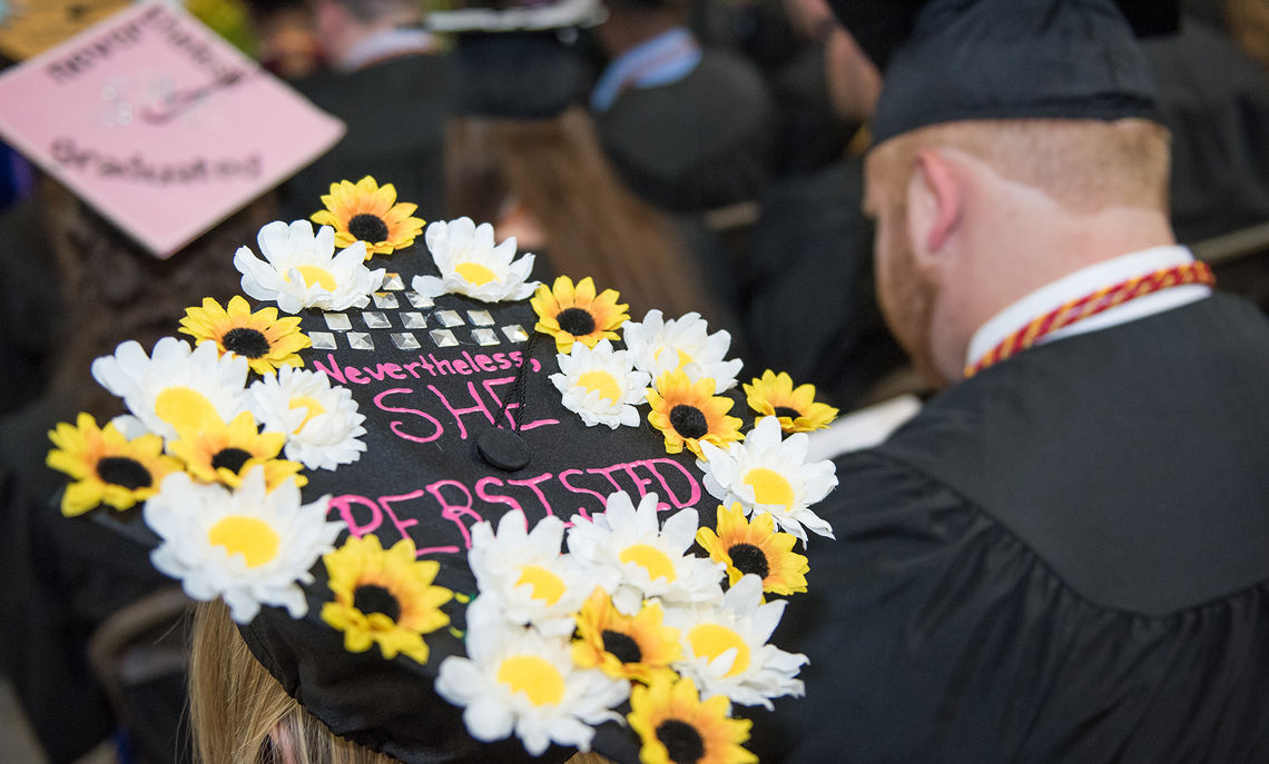 In what has become an annual tradition at Commencement, students put creative touches and inspiring messages on their mortarboards.