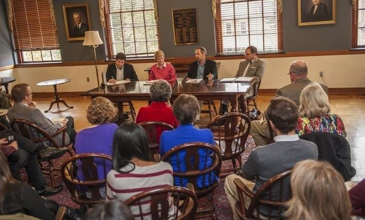 From left, Instructor of Government Herschel Nachlis, Associate Professor of Government Jennifer Kibbe, and Professors of Government Matthew Schousen and Stephen Medvic discuss how the results of the Nov. 4 mid-term election, which resulted in Republicans gaining control of both houses of Congress, might affect federal movement on key issues in the next two years.